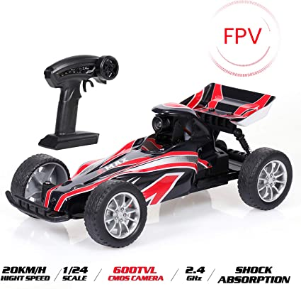 Amazon Com Goolrc Rc Car Emax Interceptor Fpv High Speed Racing Rc Car With 600tvl Camera 1 24 Scale 2 4ghz Remote Control Car Race Vision For Kids Adults Toys Games