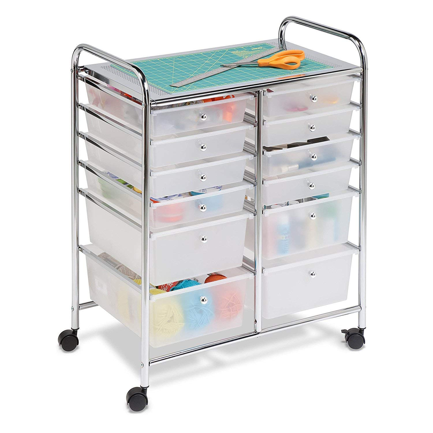Honey-Can-Do Doublewide 12-Drawer Rolling Cart, Chrome/Clear (2 Set 12 Plastic Drawers)