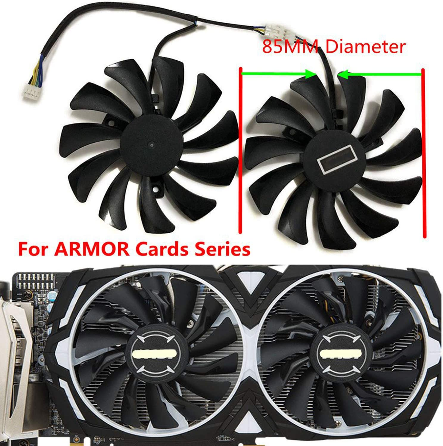 inRobert DIY Two Ball Bearing Graphic Card Fan 85mm Diameter 40x40x40mm Cooling Fan For MSI Gigabyte Sapphire Zotac XFX Mining GPU 1 pair