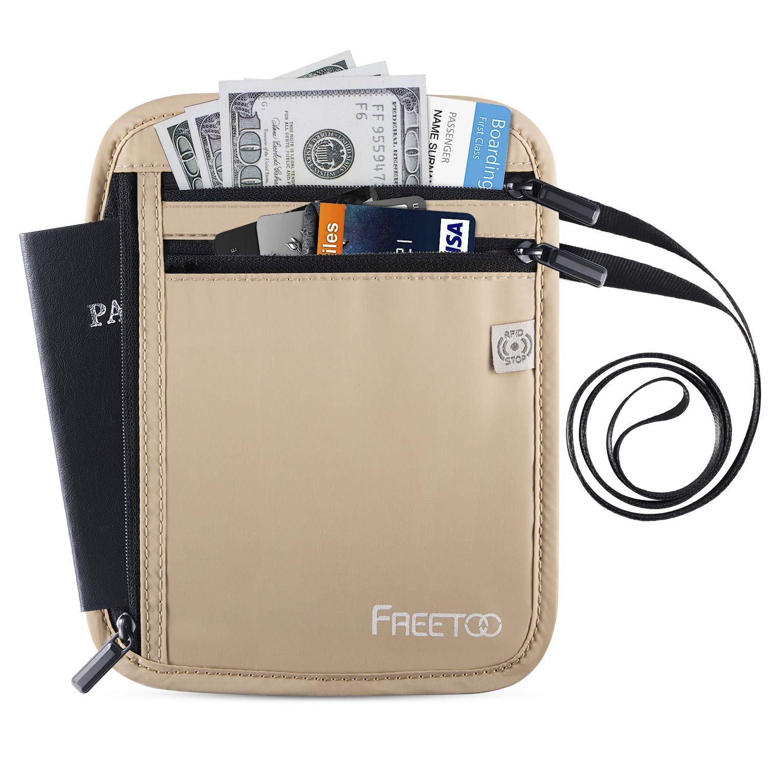 4474d20a11d8 FREETOO Neck Wallet-Travel Neck Pouch Water-Resistant Hidden Passport  Holder with RFID Blocking for Women Men Fit for Passport Credit Cards Money  and ...
