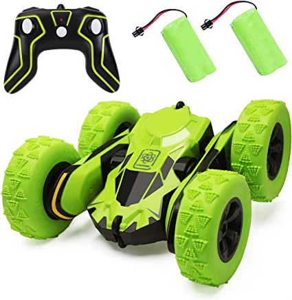 RC Stunt Car Toy for Kids 4WD 2.4GHz Double Sided Rotating Tumbling Transformation Kid Toys 360 Degree Flips High Speed 7.5MPH RC Car Off Road Green Remote Control Car