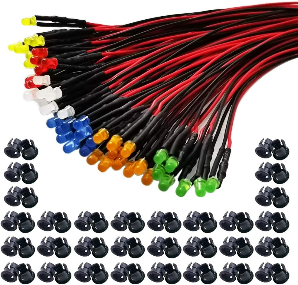 GTIWUNG 60Pcs 3mm Luces LED de Diodo 12V DC Pre Wired LED Diodos Emisores de Luz Lámpara, con Cables de 20cm + 60Pcs 3mm Plástico Soporte de LED Clip Montaje para DIY Coche Barco Juguetes Partes