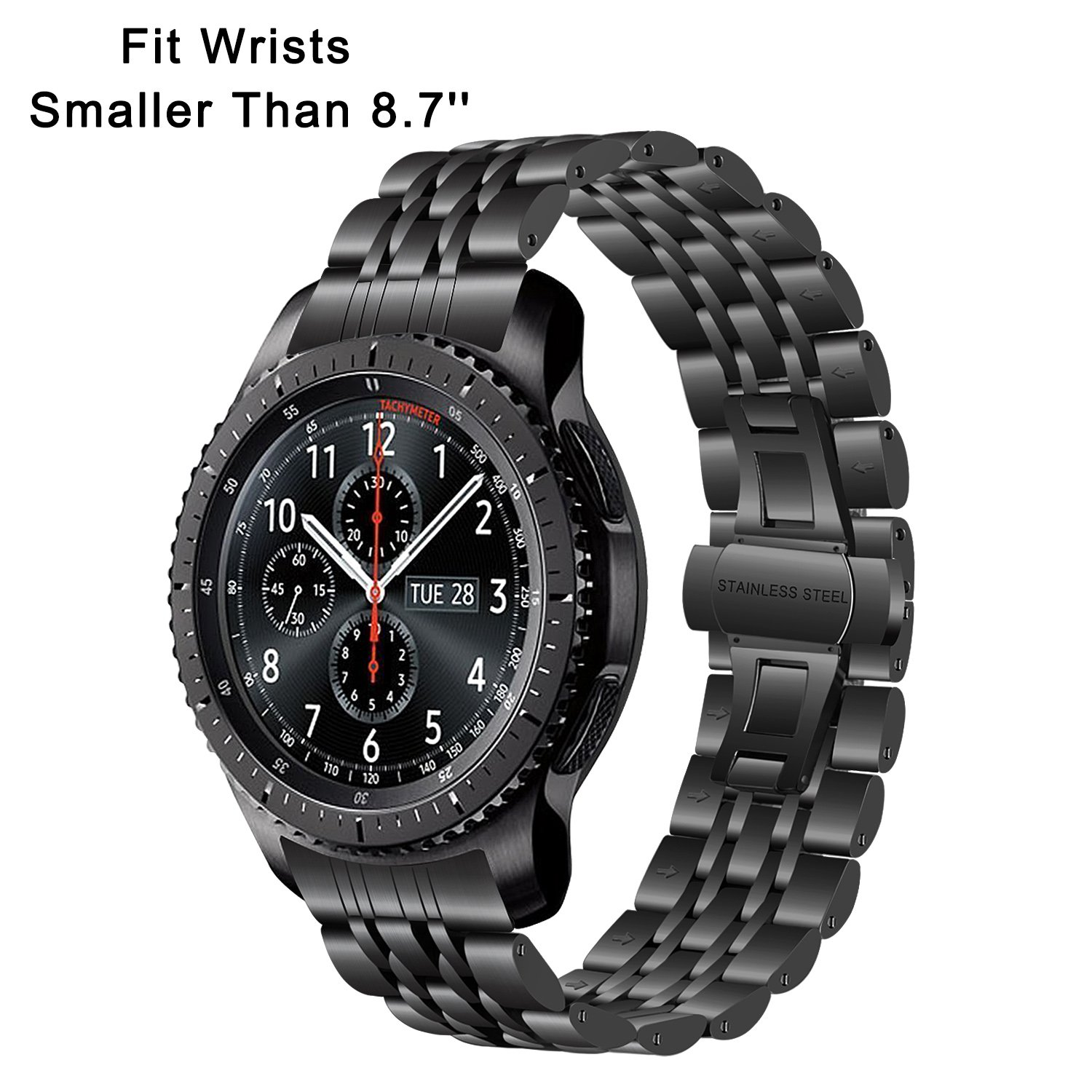 for Gear S3 / Galaxy Watch 46mm Watchband, TRUMiRR 22mm Stainless Steel Watch Band Curved End Strap Butterfly Buckle Bracelet for Samsung Gear S3 ...