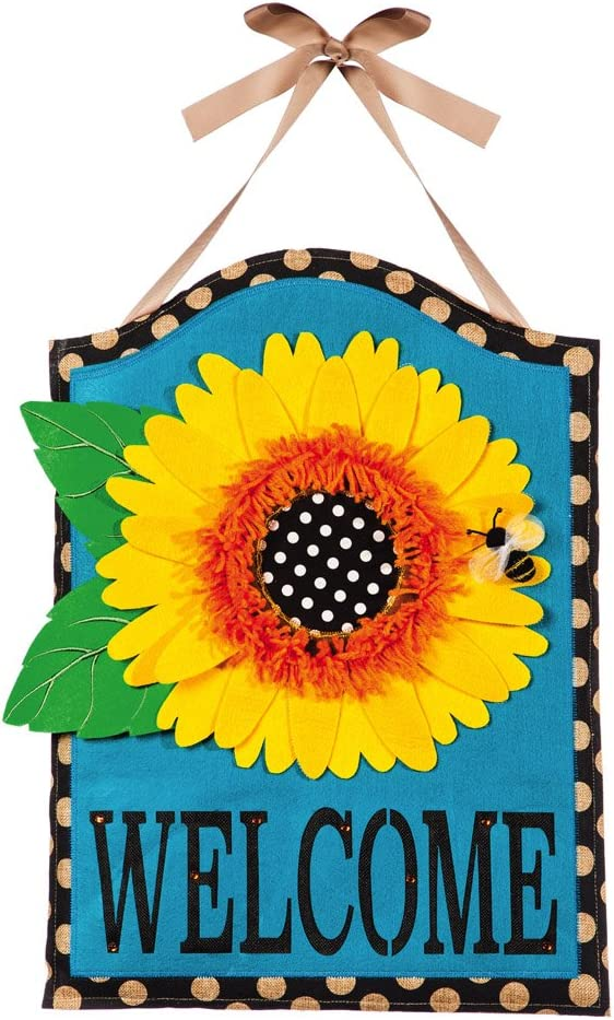 "Evergreen Flag Sunflower Welcome Hanging Outdoor-Safe Burlap Door Décor - 15.75""W x 21.5""H"
