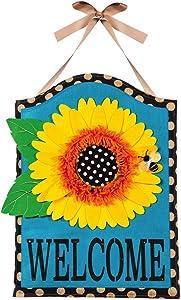 """Evergreen Flag Sunflower Welcome Hanging Outdoor-Safe Burlap Door Décor - 15.75""""W x 21.5""""H"""