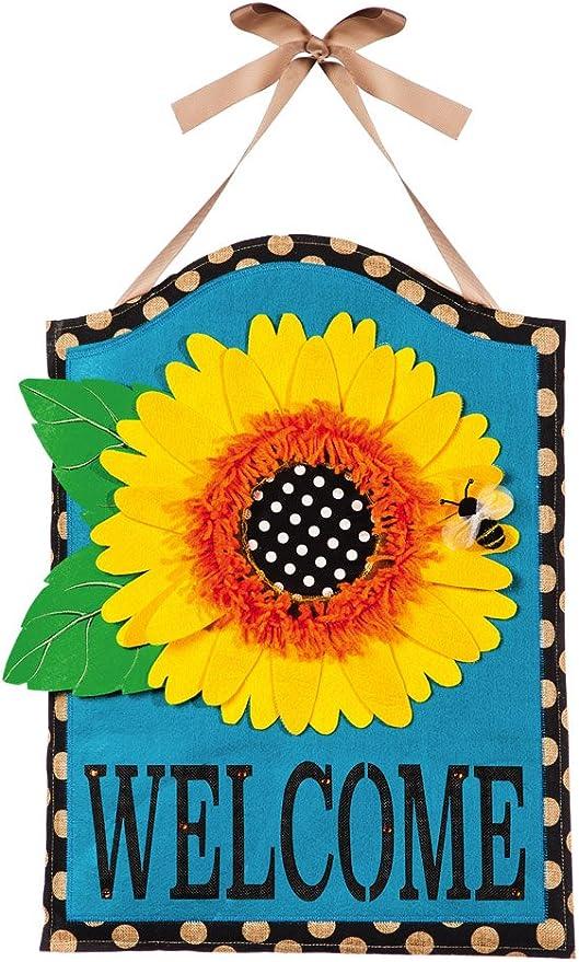 Evergreen Flag Sunflower Welcome Hanging Outdoor Safe Burlap Door Décor 15 75 W X 21 5 H Garden Outdoor