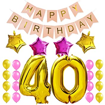 KUNGYO 40Th Birthday Party Decorations Kit-Pink Happy Brithday Banner,Number 40 Golden Mylar Foil...