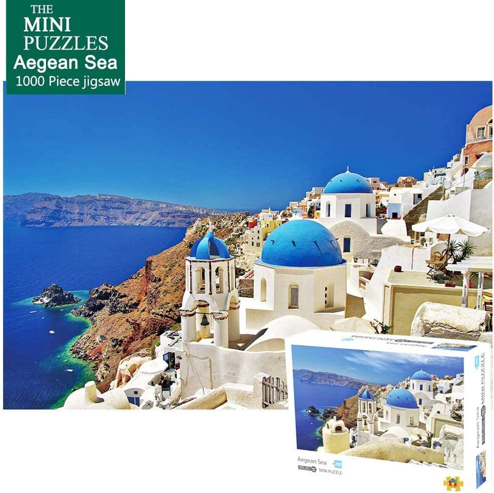 Jigsaw Puzzles 1000 Pieces for Adults Kids Family Mini-Sized Puzzles Aegean Sea Hard Jigsaw Puzzles-Aegean Sea
