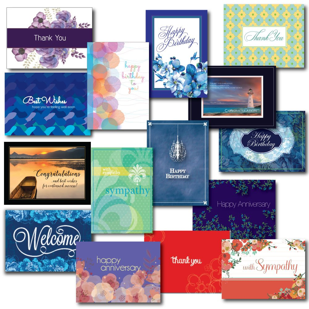 Greeting Card Box Set Assortment for Nearly Every Occasion. 30 Designs and Verses for Birthday, Anniversary, Congratulations, Get Well, Sympathy, Thank You and Welcome. .