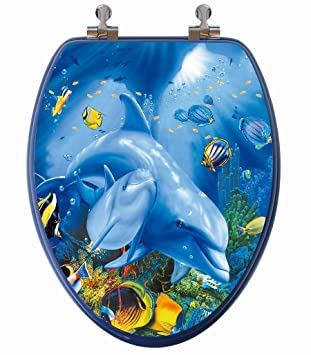 family toilet seat wood. TOPSEAT 3D Ocean Series Elongated Toilet Seat w  Chromed Metal Hinges Wood Dolphin
