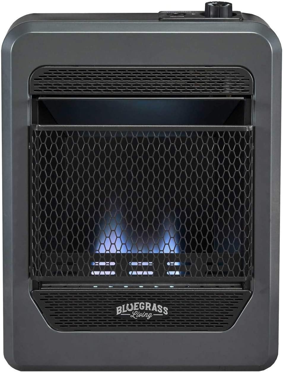 Bluegrass Living B10TPB-B Vent Free Blue Flame Gas Space Heater with Base Feet-10,000, T-Stat Control, 10000 BTU, Black