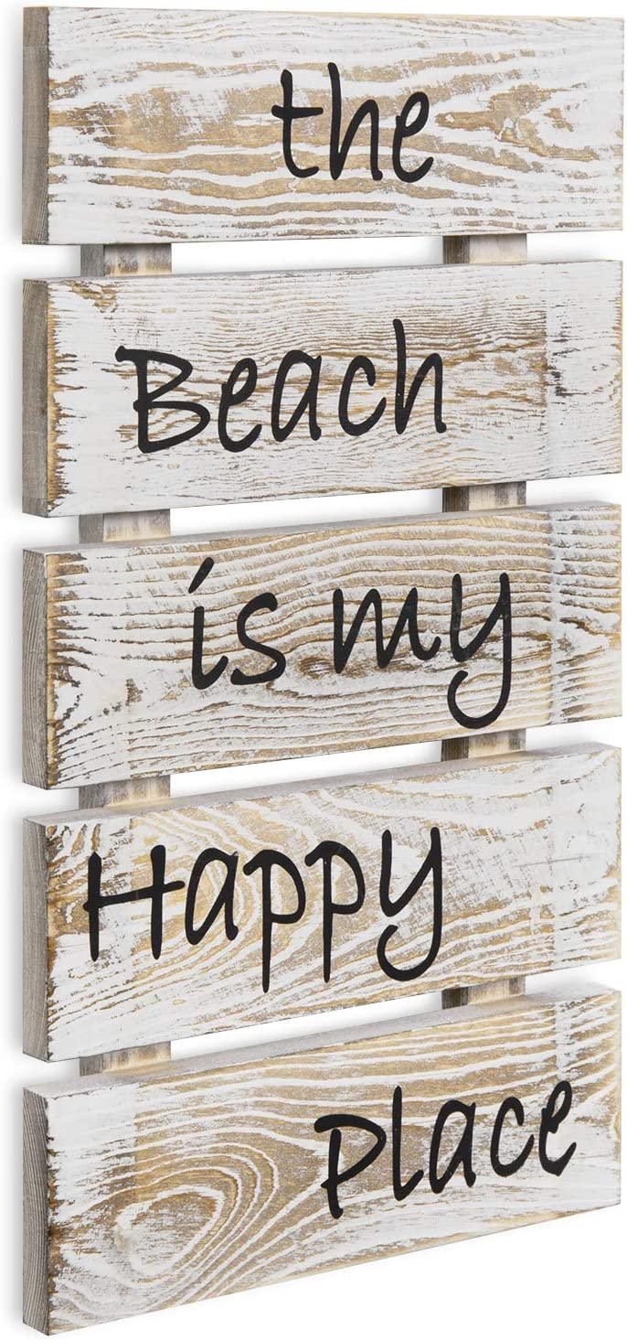 MyGift The Beach is My Happy Place Shabby Whitewashed Wood Wall Mounted Plaque Decorative Sign