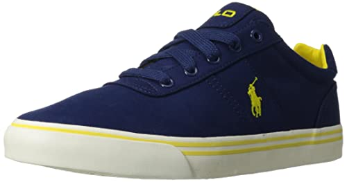 Polo Ralph Lauren Men\u0027s Hanford Fashion Sneaker,Newport Navy/Hampton Yellow,10.5  D