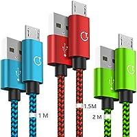 Gritin Cable Micro USB, 3-Pack [1M, 1.5M, 2M] 2.4A Micro USB Cable - Cable de sincronización Micro USB Trenzado de Nylon…
