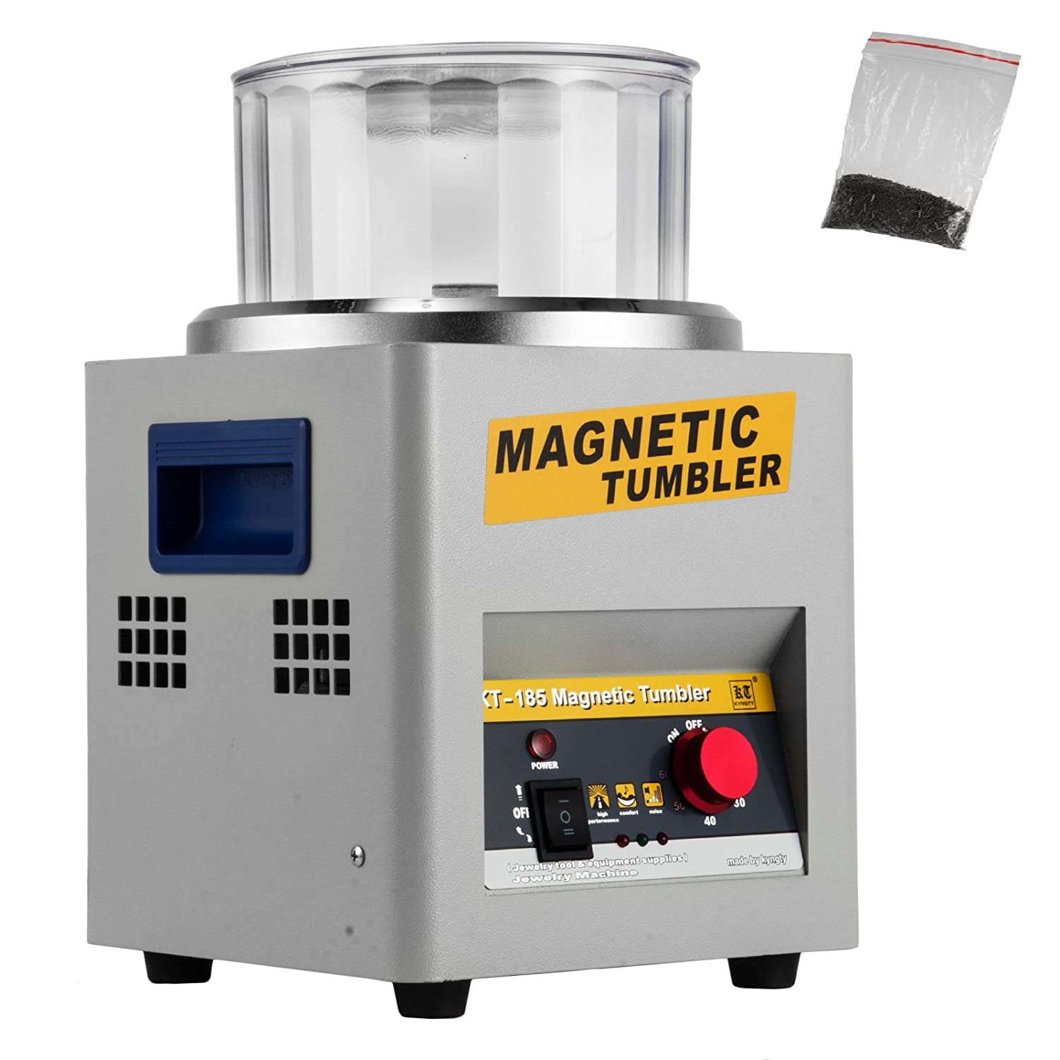 Superland KT185 Magnetic Tumbler 2000 RPM Jewelry Polisher Finisher 7.3 inch Magnetic Polisher with Adjustable Speed for Jewelry (KT185)