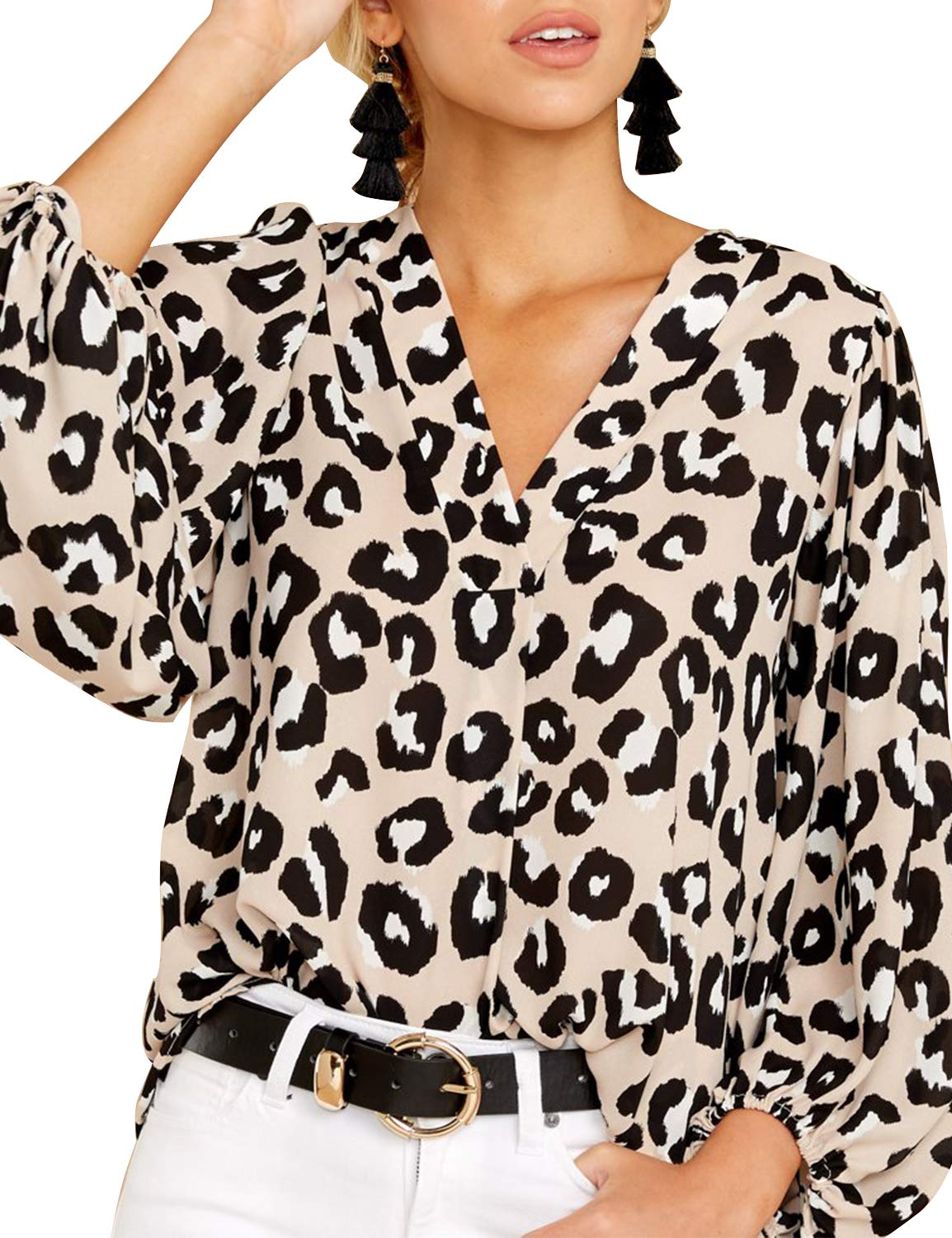 BMJL Women's Leopard Print Top Loose Blouse Puff Sleeve V Neck T Shirt
