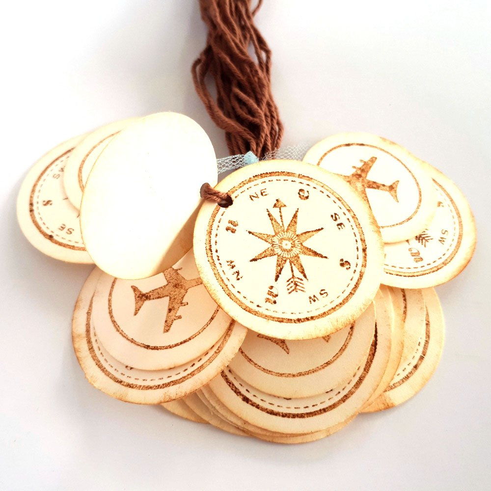 Set of 24 Vintage Airplane Compass Travel Gift Tags Baby Shower Birthday Wedding Party Favor