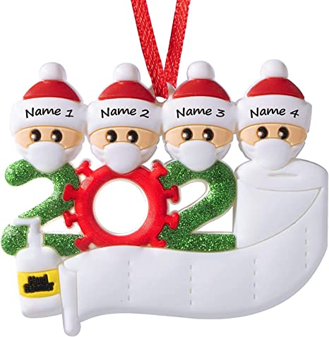 Quarantine 2020 Santa Claus Christmas Ornament Mask Toilet Paper Personalized