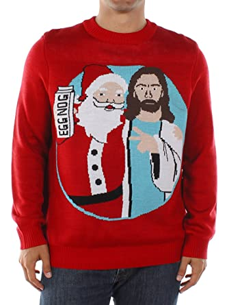 tipsy elves mens santa and jesus christmas sweater small - Hilarious Ugly Christmas Sweaters