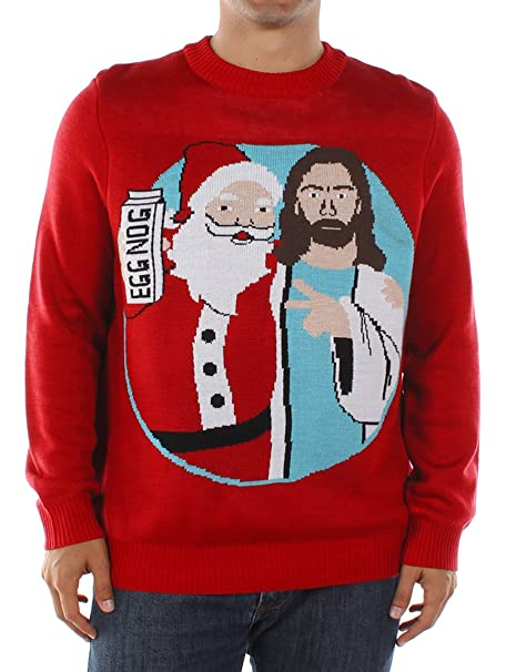 Ugly Christmas Sweater Funny.Men S Santa And Jesus Jingle Bros Christmas Sweater Funny Ugly Christmas Sweater