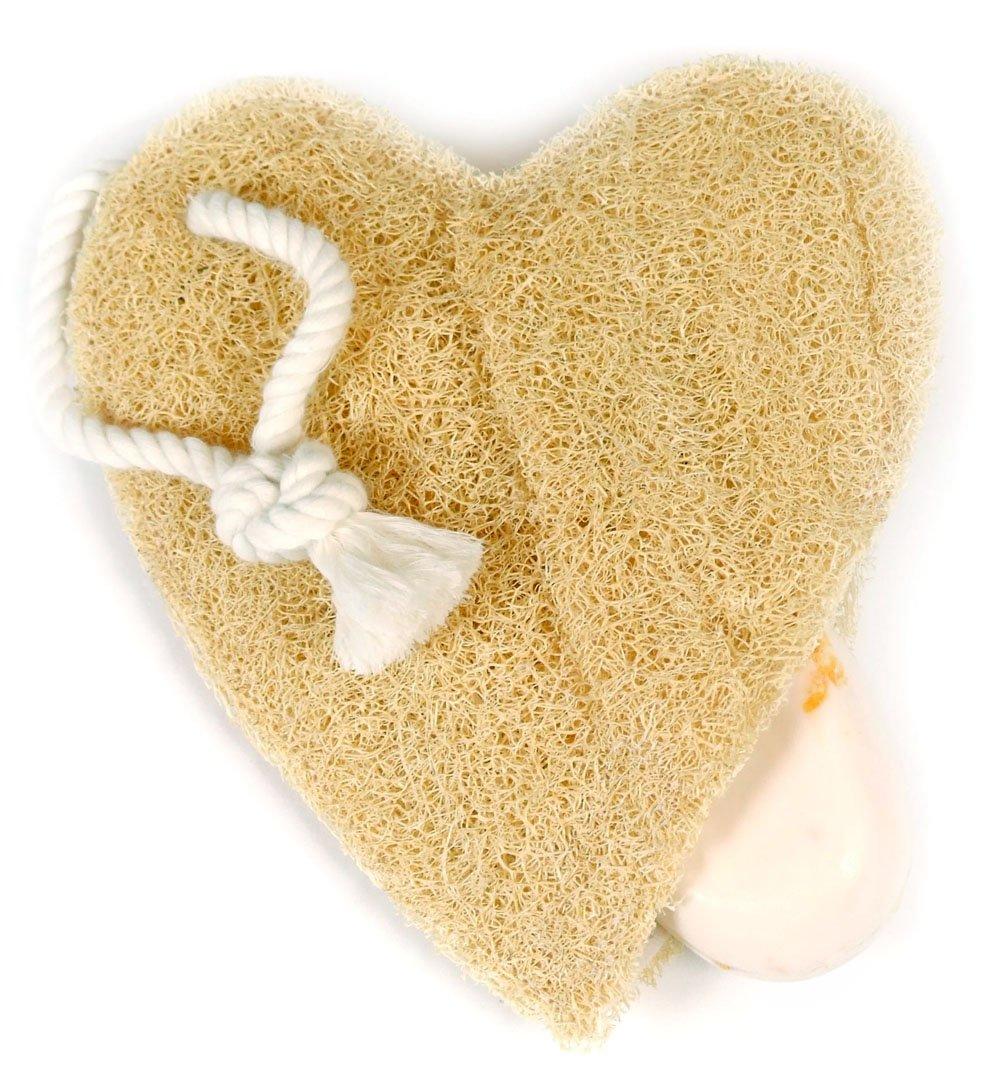 Loofah Savannah - Spugna vegetale a forma di cuore, con tasca per saponetta A-B30/10DN-2