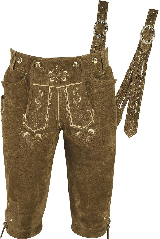 Kniebundhose Leder- Trachtenlederhose Herren- Damen Kniebundlederhose -Trachten Lederhose mit Träger in Beige Trachtenhose Knielang aus echt Leder Velours