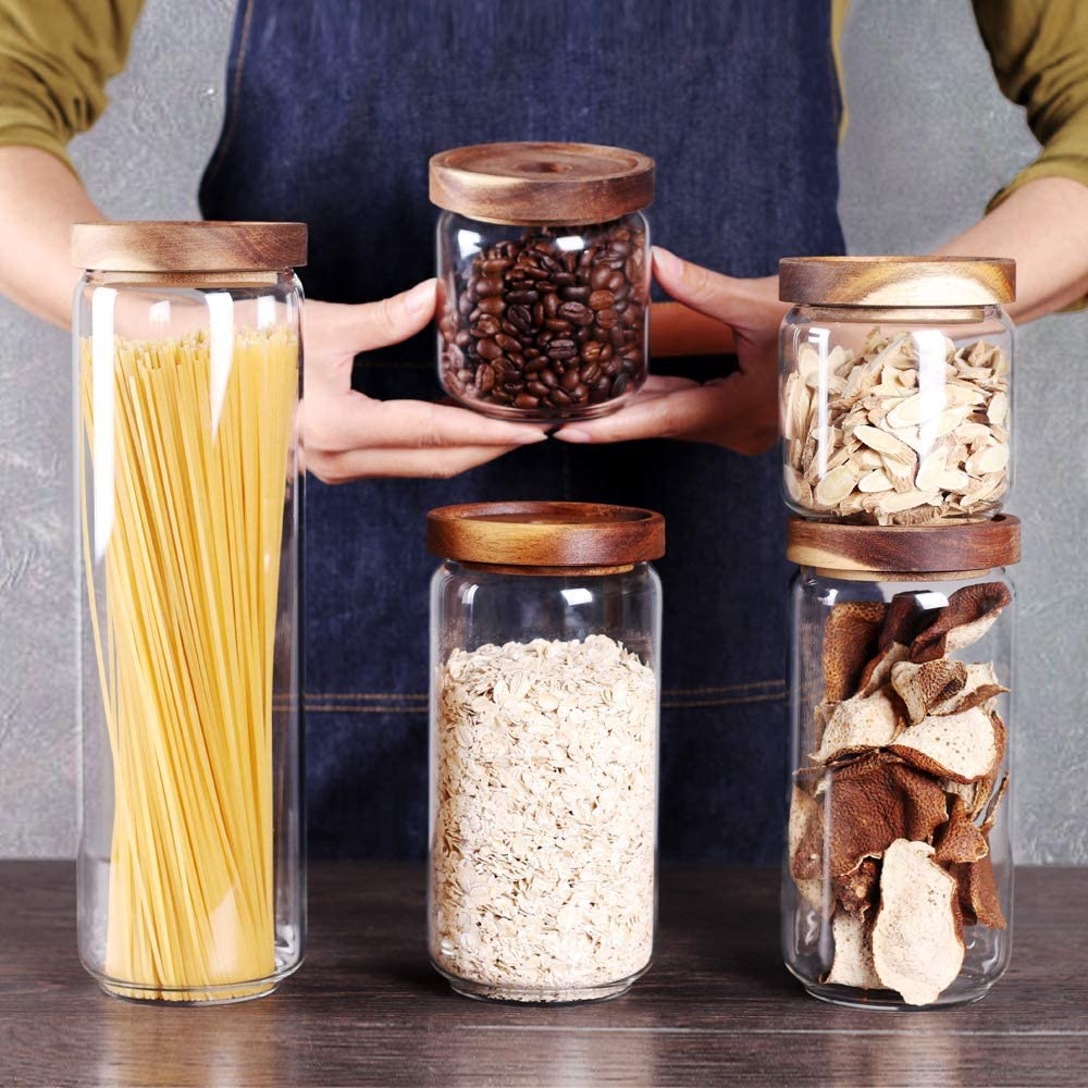 SAIOOL Set of 5 Kitchen Canisters,Thick, Stackable, Natural Style,Cookie, Rice and Spice Jars - Sugar or Flour Container - Big and Small Airtight Food Jar for Pantry
