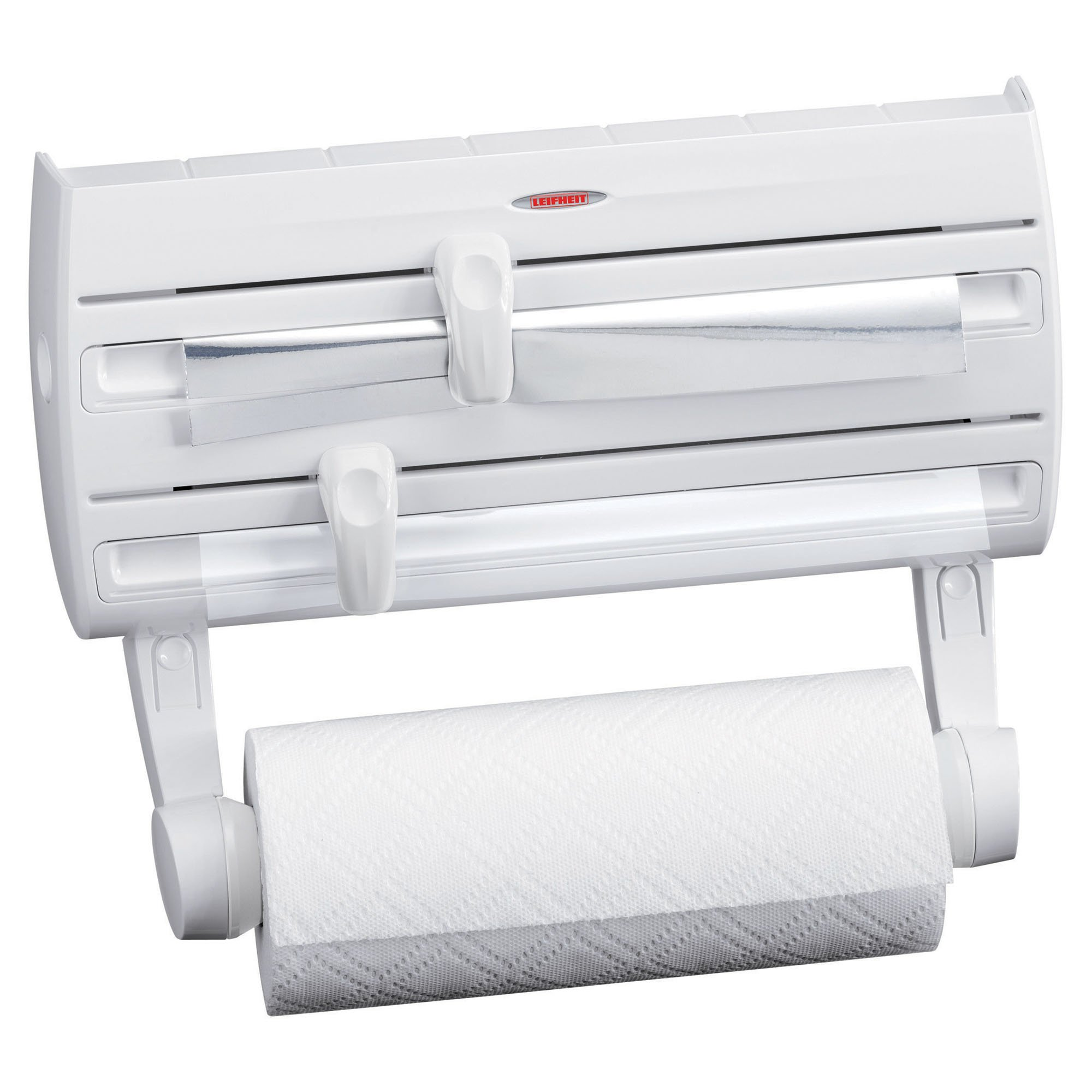 Leifheit 25771 4-in-1 Wall-Mount Paper Towel Holder   Plastic Wrap and Foil Dispenser with Spice Rack   White by Leifheit