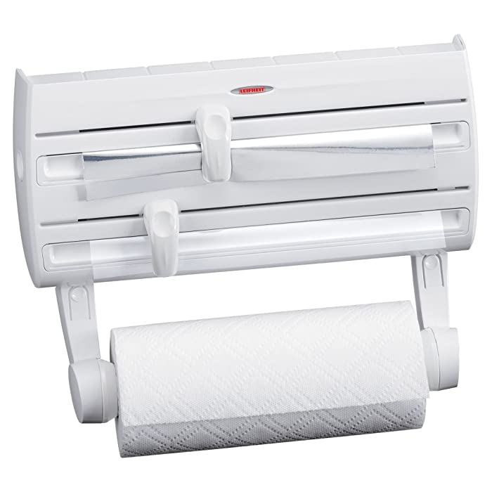 Leifheit 25771 4-in-1 Wall-Mount Paper Towel Holder   Plastic Wrap and Foil Dispenser with Spice Rack   White