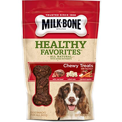 Amazon.com : Milk-Bone Healthy Favorites Chewy Dog Treats With Real Beef, 5-Ounce (Pack Of 5) : Dry Pet Food : Pet Supplies