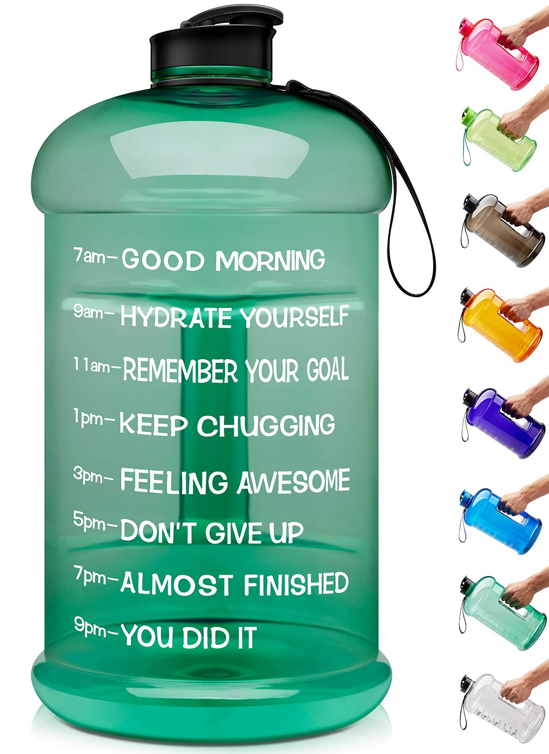 Venture Pal Large 1 Gallon/128 OZ & 74 OZ Motivational Leakproof BPA Free Water Bottle with Time Marker Perfect for Fitness Gym Camping Outdoor Sports-1Gallon-Green