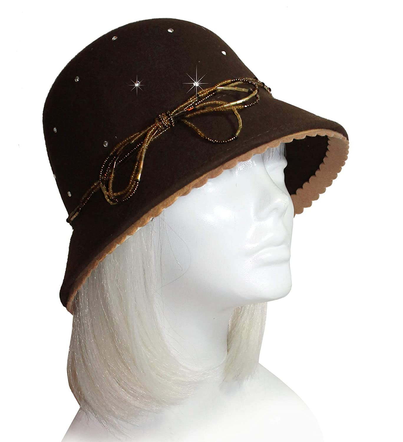abfd1347ccd7a Mr. Song Millilnery Cashmere-Soft Felt Bell Cloche Hat W Rhinestones  47800RS at Amazon Women s Clothing store
