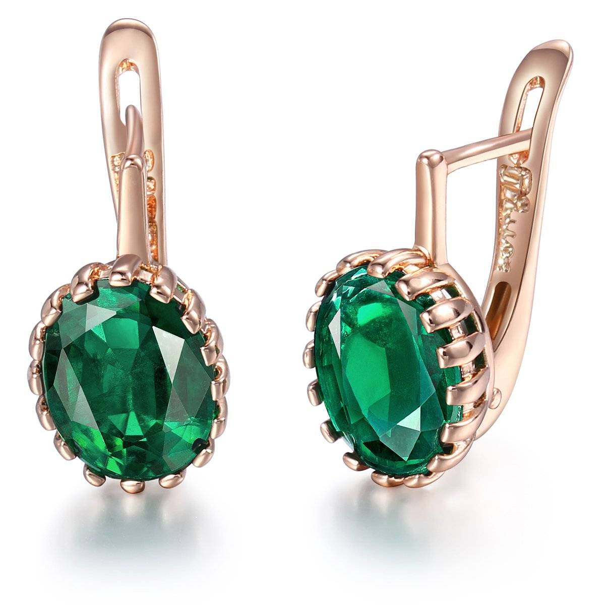 37daeddc4 Davieslee 585 Rose Gold Plated Oval Green Stone Stud Earrings For Women  Elegant Fashion Jewellery: Amazon.co.uk: Jewellery