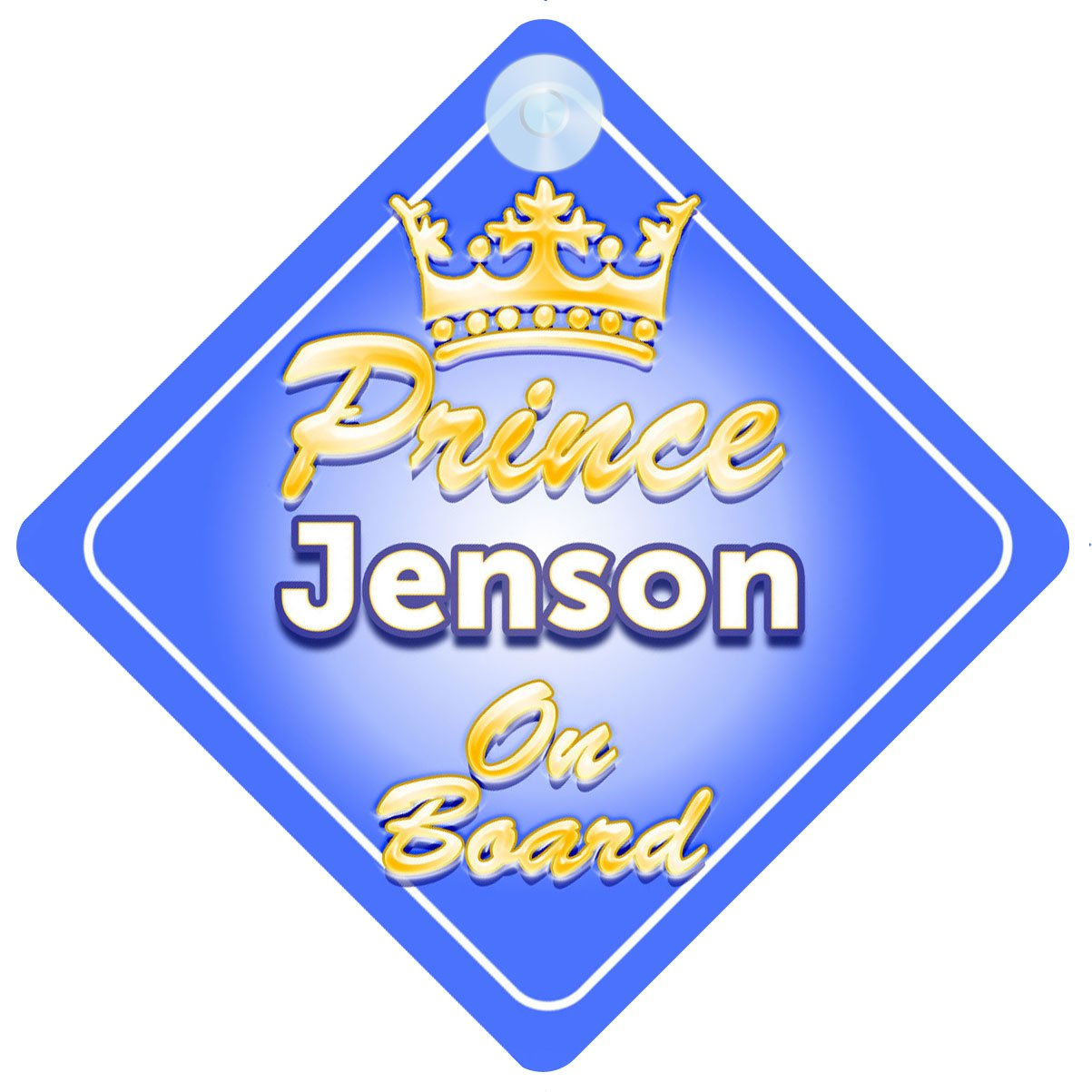 Crown Prince Jenson On Board Personalised Baby Child Boys Car Sign
