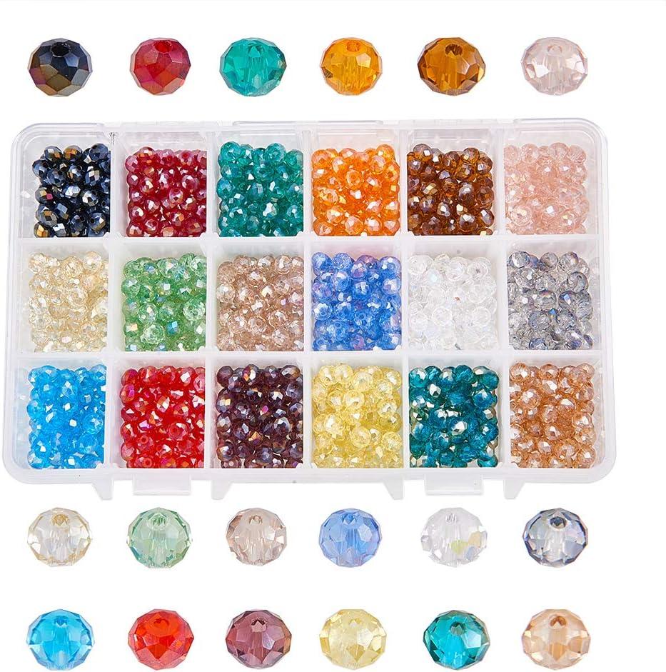 NBEADS Cuentas de Cristal facetadas de 6 mm, chapadas en Color, 1080 Unidades