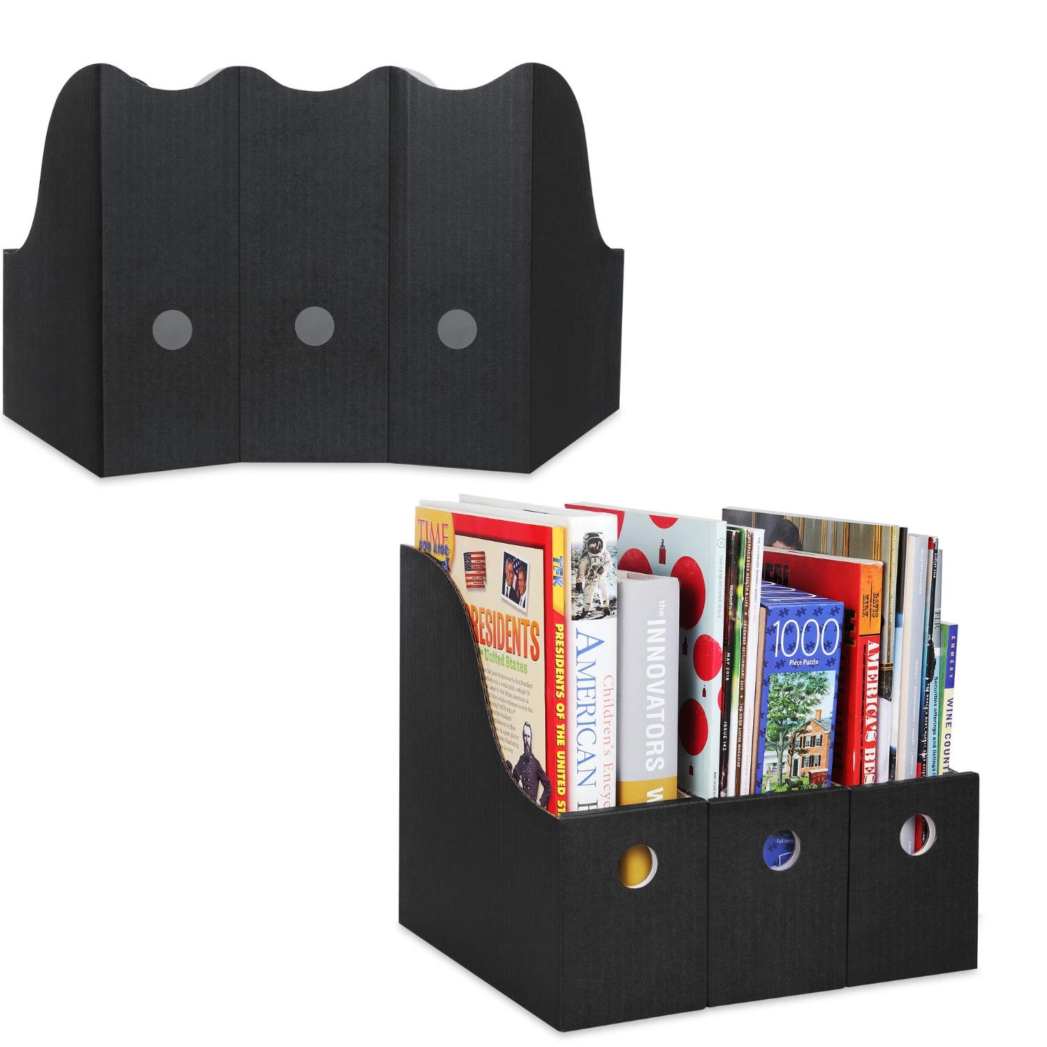 Magazine File Holder (Set of 24, Black), Sturdy Cardboard Magazine Holder, Folder Holder, Magazine Organizer, Folder Organizer, Magazine Box, File Storage, or Book Bins for Classroom Library Organizer by Dunwell