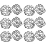 Kaizen Casa Handmade Gold Round Mesh Napkin Rings Holder for Dinning Table Parties Everyday, Set of 6 (Silver, 12)