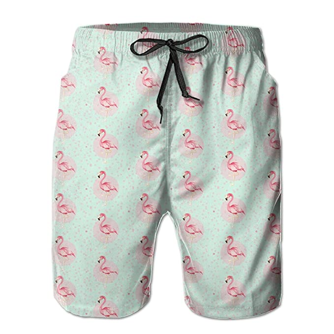 5f979dab50 Amazon.com: CREAT Men's Quick Dry Pink Flamingo Swim Trunks With Pockets:  Clothing
