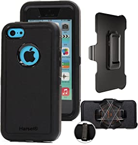 iPhone 5c with Belt Clip & Built-in Screen Protector Cover Harsel Heavy Duty Defender Shockproof Military Rubber Resistant Hybrid Outdoor Sport Tough Armor Case for iPhone 5C (Black Black)