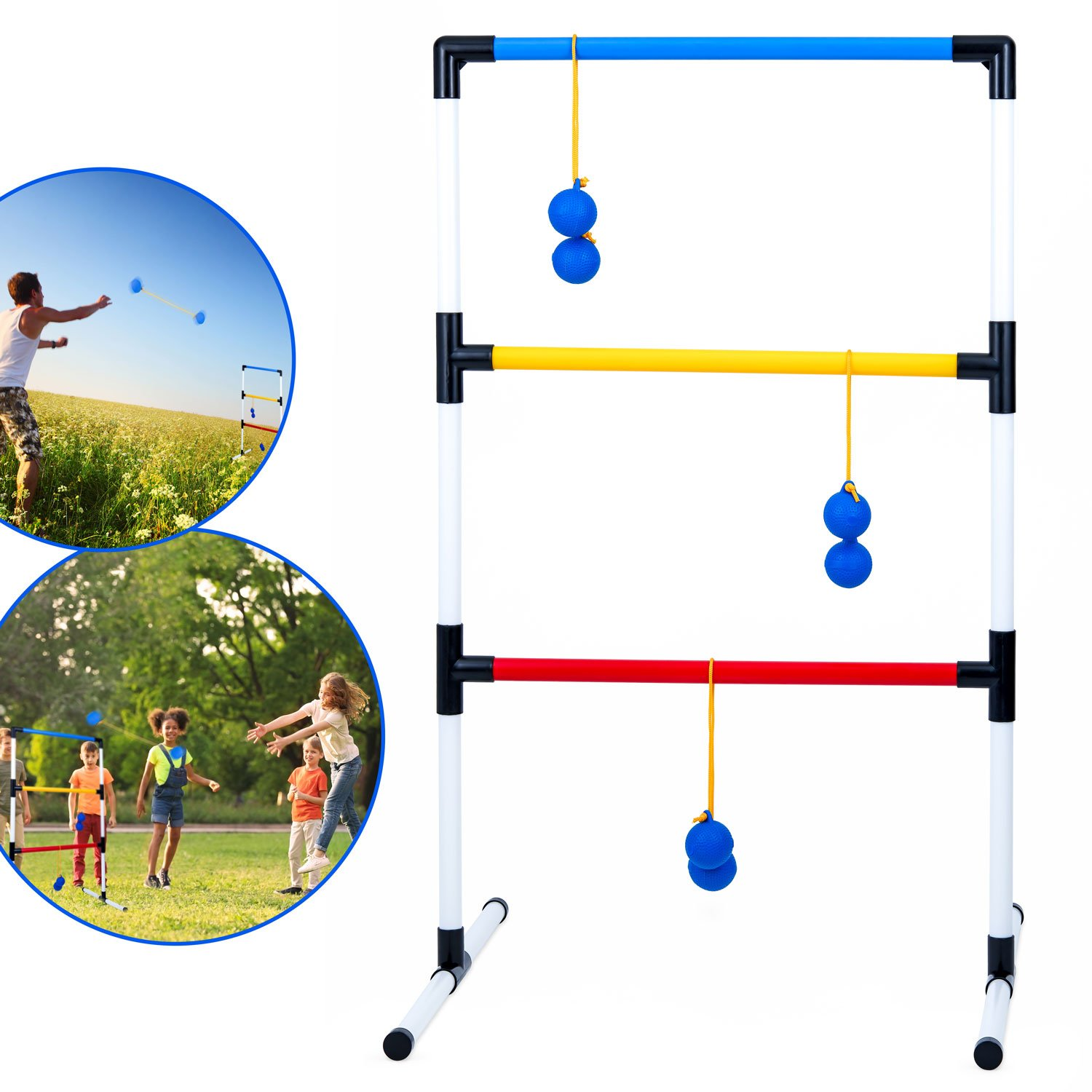 Ideas In Life One Piece Ladder Ball Game Set - Indoor & Outdoor Games for Adults and Kids – Hillbilly Golf Backyard Toys Ladder Golf Toss Game and 3 Bolas by Ideas In Life