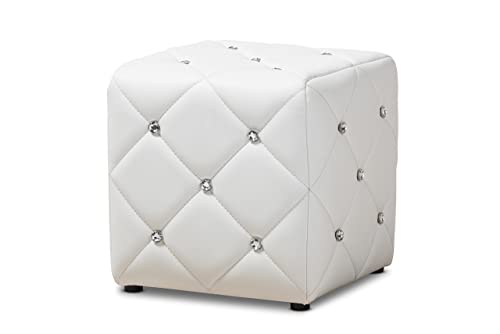 Baxton Studio Anabelle Modern and Contemporary Faux Leather Upholstered Ottoman, White