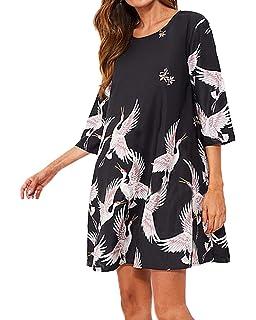 Sommer Damen Kurz Kleid Freizeit Druck Shirt Kleider Strandkleider  Blusenkleider Mode Rundhals 3 4 Arm 9f1f9fe5f6