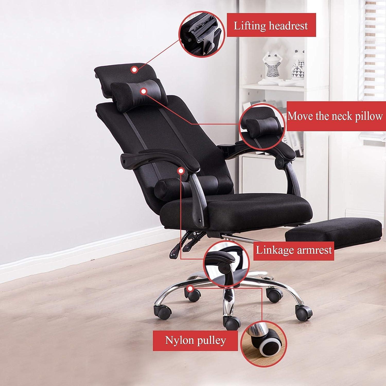 YYL kontorsstol hem kontor datorstol, verkställande ergonomisk justerbar svängbar stol, spel racerstol med fotstöd svängbar stol (färg: grå) BLÅ