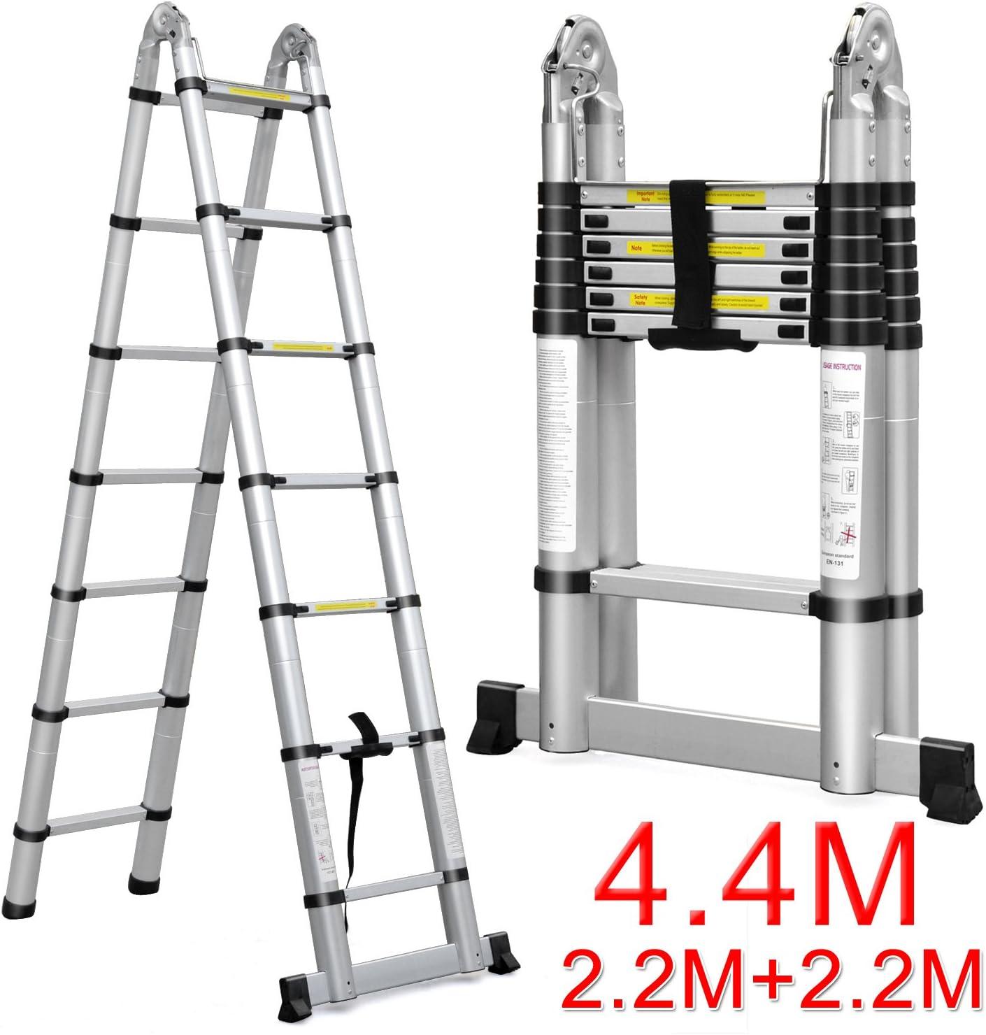 Popamazing – Escalera telescópica plegable de doble seguro & calidad: Amazon.es: Bricolaje y herramientas