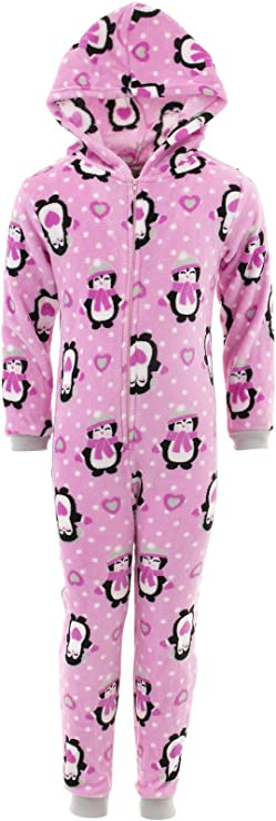 Sweet N Sassy Girls Penguin Gray Hooded One-Piece Micro Fleece Pajamas