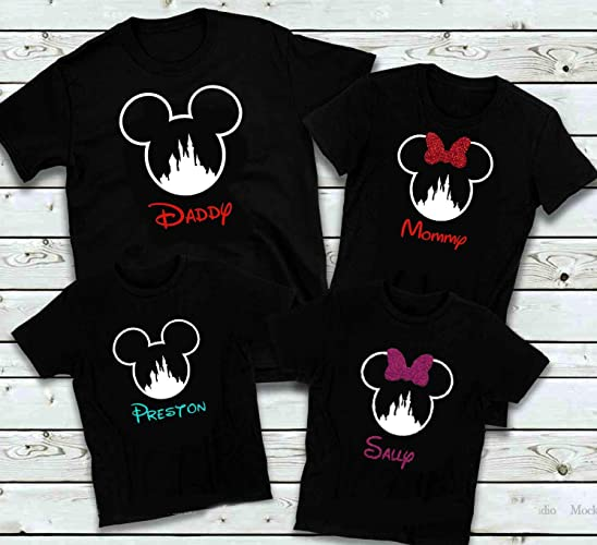 d38a24732 Amazon.com: Disney Inspired Family Mix and Matching Black Shirts, Glitter Minnie  Mouse Bow and Disney Castle Design Personalized Option available: Handmade