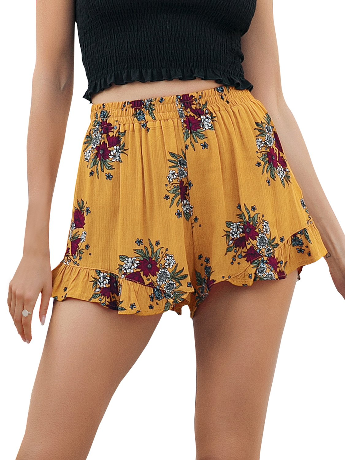 Simplee Women's High Waisted Casual Shorts Summer Boho Floral Print Elastic Shorts Yellow US 10 by Simplee Apparel