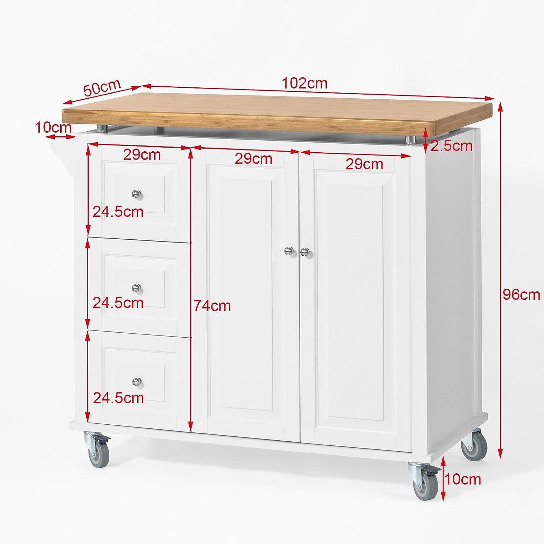 SoBuy Neu Luxus-Küchenwagen, Arbeitsplatte aus Hochwertigem Bambus ...