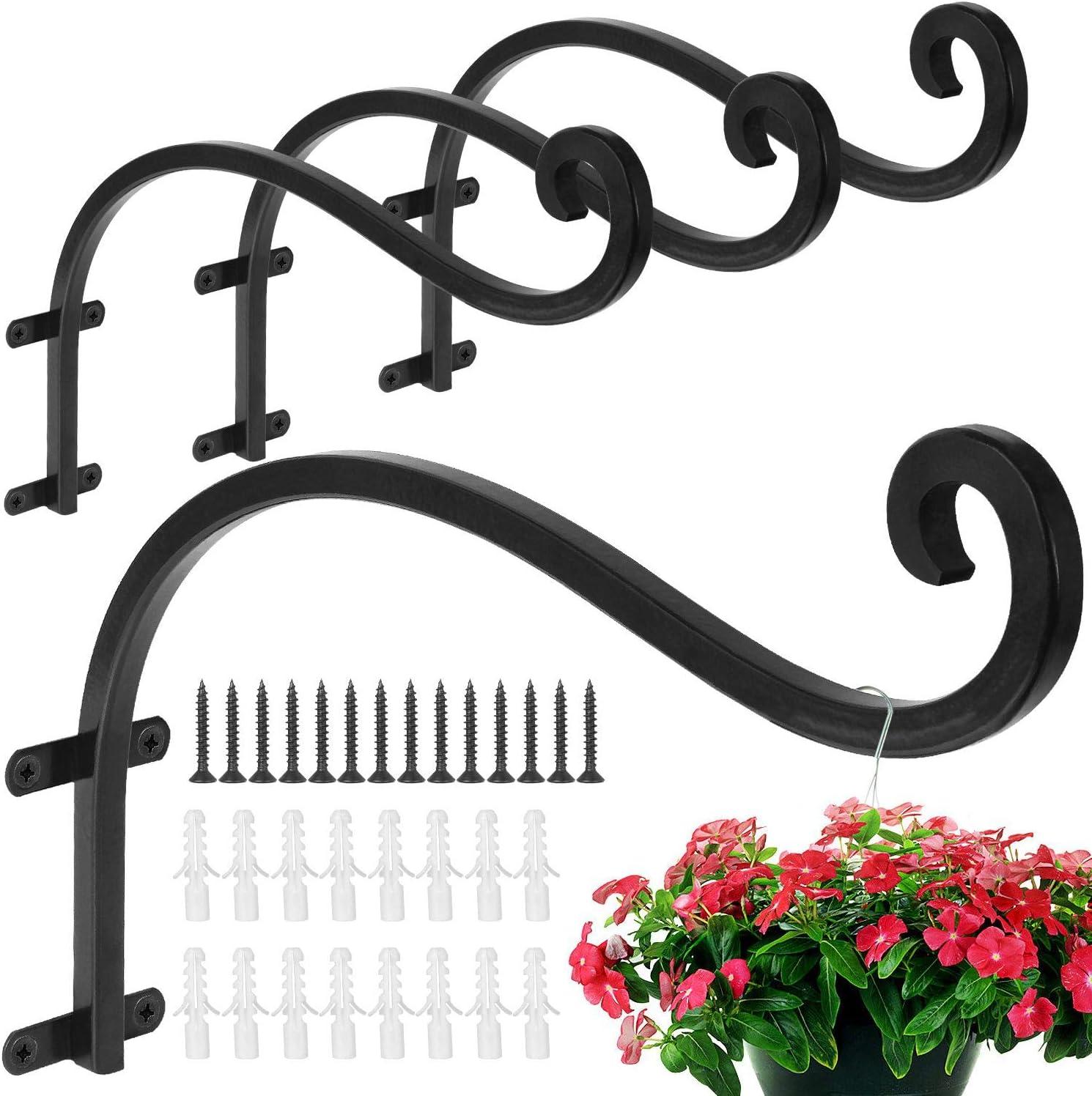 4pcs//10pcs Metal Hanging Baskets Brackets Hooks Garden Plant Wall Hanger Bracket