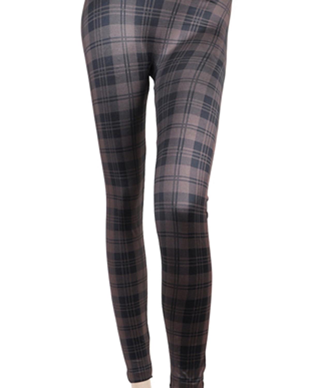 'Sexy Legs' Brown Plaid Pattern Fashion Leggings